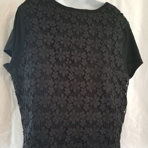 Gap women's black shirt with back floral lace